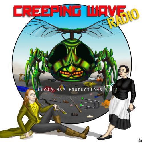 "A comic book stye art print of ""Vengeance is Hers"", episode 18 of rhe ""Creeping Wave Radio"" audiodrama podcast."