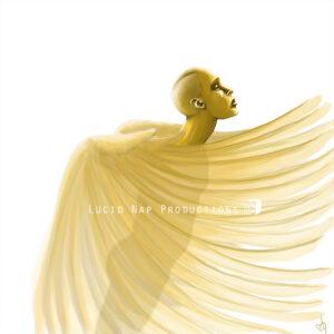 "A digital art print entitled ""Golden Wings"""